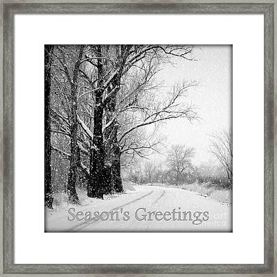 Winter White Season's Greetings Framed Print