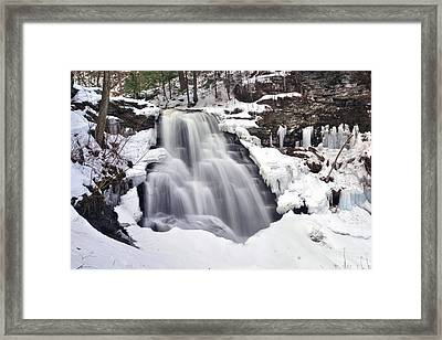 Winter Wilds At Erie Falls Framed Print by Gene Walls