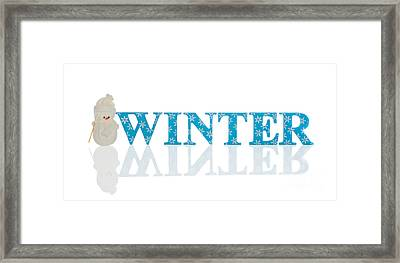 Winter With Snowman Framed Print by Amanda Elwell