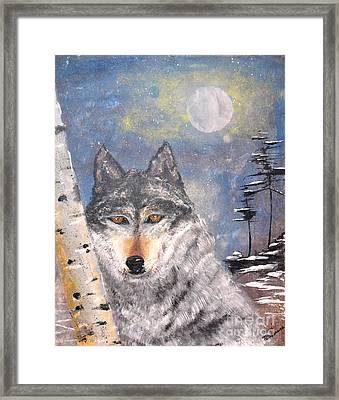 Framed Print featuring the painting Winter Wolf by Denise Tomasura