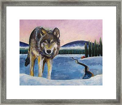 Winter Wolf Framed Print by Harriet Peck Taylor