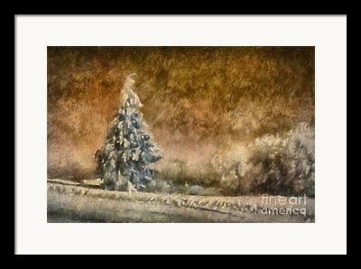 Snowy Roads Digital Art Framed Prints
