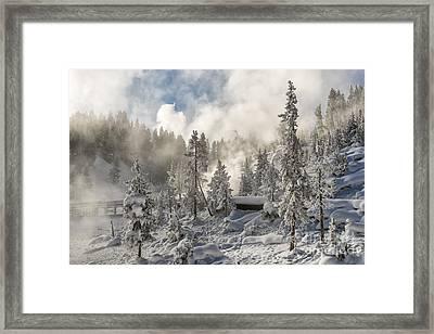 Winter Wonderland - Yellowstone National Park Framed Print by Sandra Bronstein