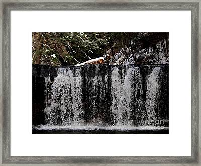Winter Woodland Waterfall Framed Print