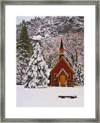 Winter Yosemite Chapel Framed Print by Heidi Smith