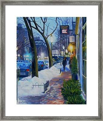 Winter Evening On Charles Street  Framed Print by Sue Birkenshaw