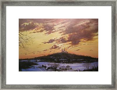 Winter's Eve At Holy Hill Framed Print by Tom Shropshire