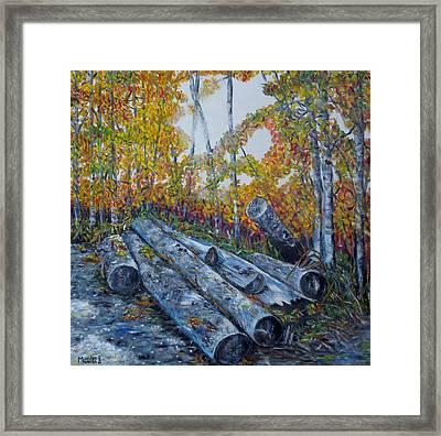 Winter's Firewood Framed Print
