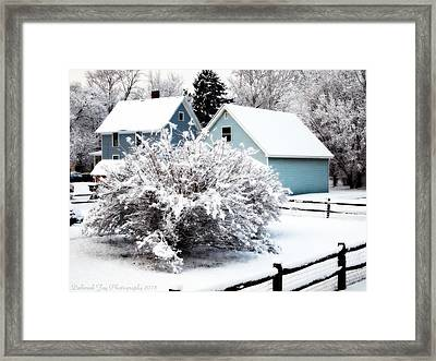 Framed Print featuring the photograph Winters First Snow by Deborah Fay