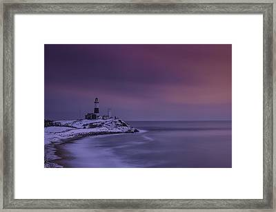 Winter's Glow At Montauk Point Framed Print