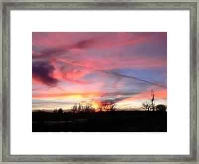 Winters' Sunset Rainbow Framed Print by Cheryl Damschen