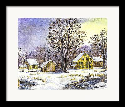 New England Snow Scene Drawings Framed Prints