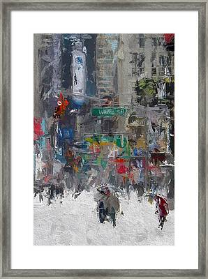 Wintertime On Broadway Framed Print by Steve K