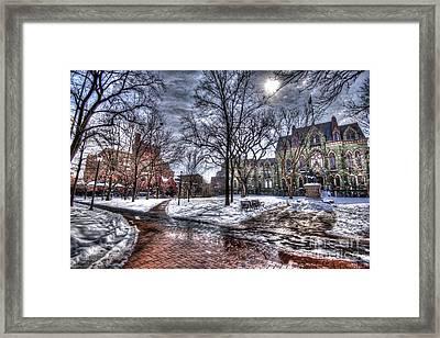 Wintery College Green - University Of Pennsylvania Framed Print by Mark Ayzenberg