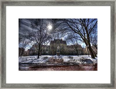 Wintery College Hall Green - University Of Pennsylvania Framed Print