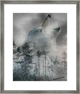 Wintery Howling Wolf Framed Print by Wishes and Whims Originals By Michelle Jensen