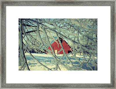 Wintery Red Barn Framed Print by Julie Hamilton
