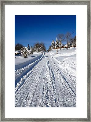 Wintery Road Framed Print by Amy Cicconi