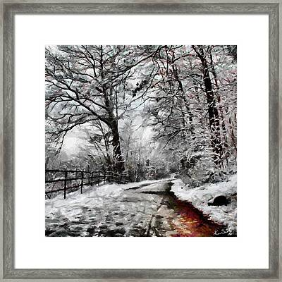 Wintery Road Framed Print