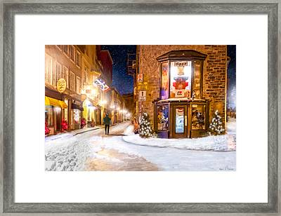 Wintery Streets Of Old Quebec At Night Framed Print by Mark Tisdale