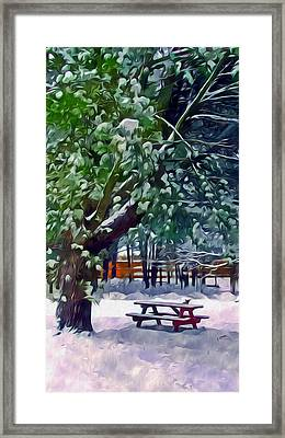 Wintry  Snowy Trees Framed Print by Lanjee Chee