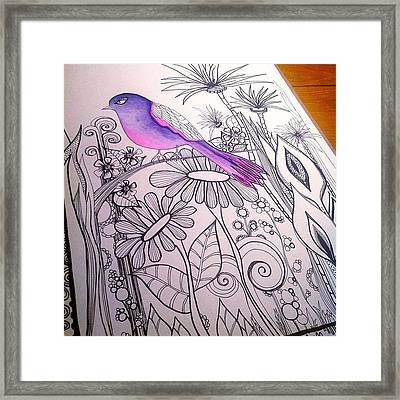 #wip #birdart #gardenart #flowers Framed Print