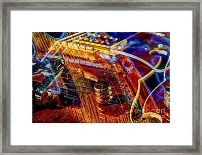 Wipe Out Digital Guitar Art By Steven Langston Framed Print by Steven Lebron Langston