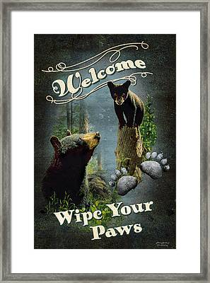 Wipe Your Paws Framed Print by JQ Licensing