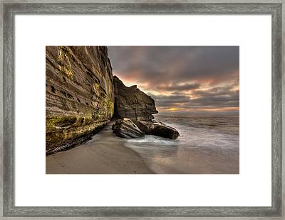 Wipeout Beach Cliffs Framed Print by Peter Tellone