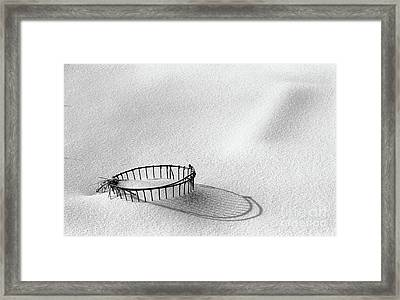 Wire Basket In Snow Framed Print