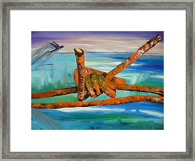 Framed Print featuring the painting Wire by Daniel Janda