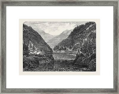 Wire Suspension Bridge Over The Fraser River British Framed Print