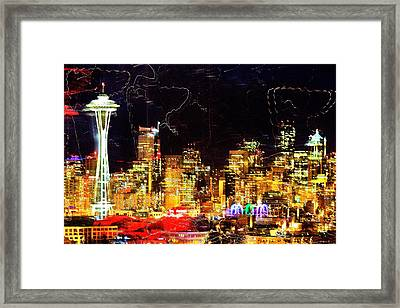 Wired Seattle Framed Print by Benjamin Yeager