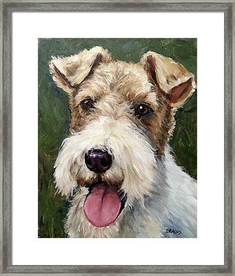 Wirehaired Fox Terrier On Green Framed Print by Dottie Dracos