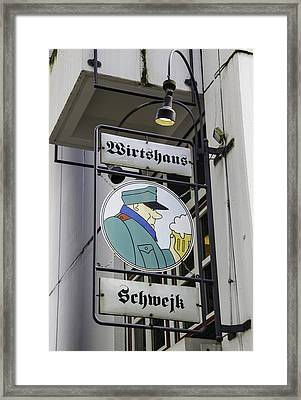 Wirtshaus Schwejk Sign Cologne Germany Framed Print by Teresa Mucha