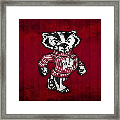 Wisconsin Badgers College Sports Team Retro Vintage Recycled License Plate Art Framed Print by Design Turnpike