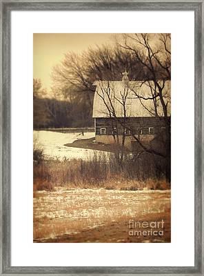 Wisconsin Barn In Winter Framed Print by Jill Battaglia