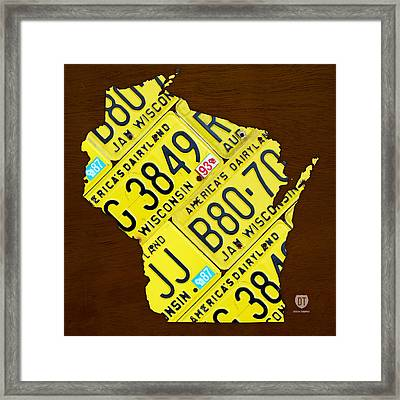 Wisconsin License Plate Map By Design Turnpike Framed Print by Design Turnpike