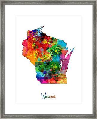 Wisconsin Map Framed Print by Michael Tompsett