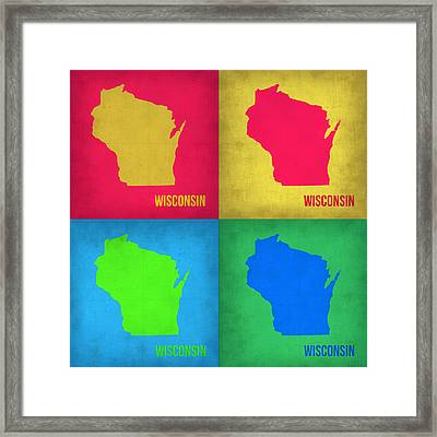 Wisconsin Pop Art Map 1 Framed Print
