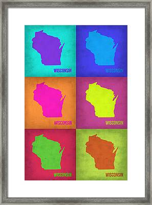Wisconsin Pop Art Map 2 Framed Print by Naxart Studio