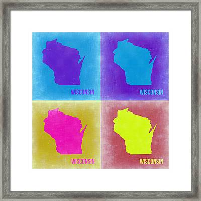 Wisconsin Pop Art Map 3 Framed Print