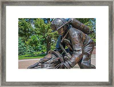 Framed Print featuring the photograph Wisconsin State Firefighters Memorial 4 by Susan  McMenamin