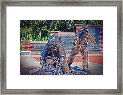 Framed Print featuring the photograph Wisconsin State Firefighters Memorial Park 2 by Susan  McMenamin