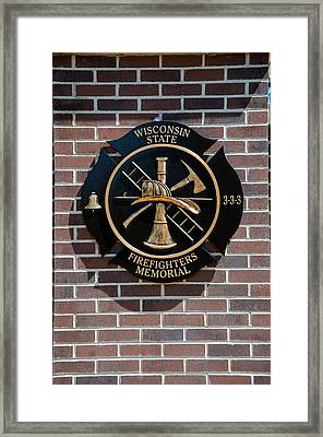 Framed Print featuring the photograph Wisconsin State Firefighters Memorial Park 5 by Susan  McMenamin