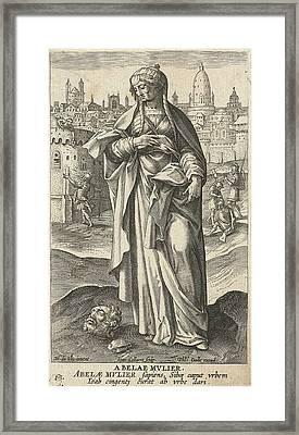Wise Woman Of Abel Beth Maacah, Jan Collaert II Framed Print by Jan Collaert (ii) And Philips Galle And Cornelis Kiliaan