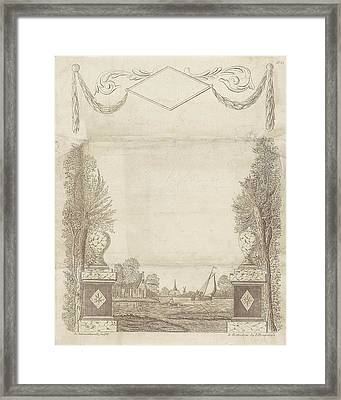 Wish Letter With Decorative Framework With A Townscape Framed Print