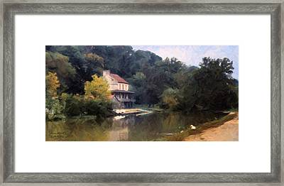 A Duck And A House On The Canal Framed Print by Spyder Webb