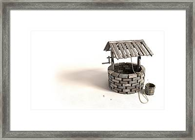 Wishing Well With Wooden Bucket And Rope Framed Print