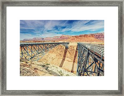 Wispy Clouds Over Navajo Bridge North Rim Grand Canyon Colorado River Framed Print by Silvio Ligutti